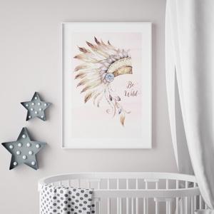 Babaszoba fali dekoráció, babaposzter -rózsaszín, indián fejdísz - falikép, keret nélkül, Otthon & lakás, Dekoráció, Kép, Lakberendezés, Falikép, Gyerek & játék, Gyerekszoba, Baba falikép, Fotó, grafika, rajz, illusztráció, Papírművészet, Babaszoba fali dekoráció, babaposzter - rózsaszín, indián fejdísz - több méretben, keret nélkül.\n\nAz..., Meska