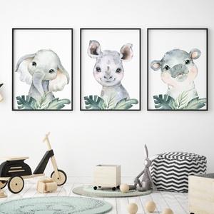 Babaszoba fali dekoráció, babaposzter - safari állatok levéllel - falikép, keret nélkül, Otthon & lakás, Dekoráció, Kép, Lakberendezés, Falikép, Gyerek & játék, Gyerekszoba, Baba falikép, Fotó, grafika, rajz, illusztráció, Papírművészet, Babaszoba fali dekoráció, babaposzter - safari állatok levéllel - több méretben, keret nélkül. \n\nAz ..., Meska