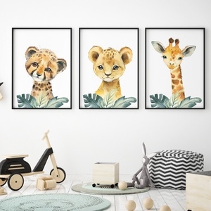 Babaszoba fali dekoráció, babaposzter - safari állatok levéllel II.- falikép, keret nélkül, Otthon & lakás, Dekoráció, Kép, Lakberendezés, Falikép, Gyerek & játék, Gyerekszoba, Baba falikép, Fotó, grafika, rajz, illusztráció, Papírművészet, Babaszoba fali dekoráció, babaposzter - safari állatok levéllel II.- több méretben, keret nélkül. \n\n..., Meska