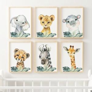 Babaszoba fali dekoráció, babaposzter - safari állatok levéllel III.- falikép, keret nélkül, Otthon & lakás, Dekoráció, Kép, Lakberendezés, Falikép, Gyerek & játék, Gyerekszoba, Baba falikép, Fotó, grafika, rajz, illusztráció, Papírművészet, Babaszoba fali dekoráció, babaposzter - safari állatok levéllel II.- több méretben, keret nélkül. \n\n..., Meska