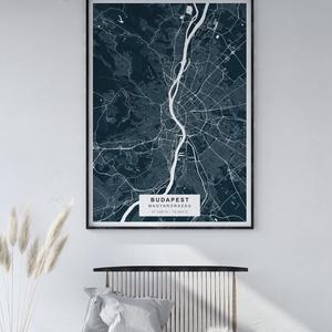 Egyedi térkép, várostérkép poszter, falikép - keret nélkül, Budapest, New York, bármilyen várossal, sötét kék, Otthon & lakás, Dekoráció, Kép, Lakberendezés, Falikép, Esküvő, Nászajándék, Fotó, grafika, rajz, illusztráció, Papírművészet, Térkép poszter, falikép - keret nélkül\n\nSkandináv stílusú egyedi térkép poszter. Az ár 1 db-ra vonat..., Meska