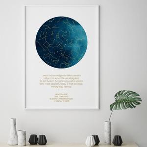 Egyedi csillagtérkép, csillagkép, égbolt, poszter,falikép - keret nélkül, több méretben, türkiz-arany, Otthon & lakás, Dekoráció, Kép, Lakberendezés, Falikép, Esküvő, Nászajándék, Fotó, grafika, rajz, illusztráció, Papírművészet, Skandináv stílusú egyedi csillagtérkép poszter - keret nélkül\n\nEmlékszel milyen gyönyörűnek tűntek a..., Meska