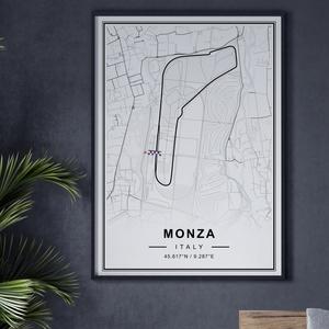 Forma 1, Formula 1, Monza autóverseny pálya poszter, falikép, Olaszország térkép,, Otthon & lakás, Dekoráció, Kép, Lakberendezés, Falikép, Férfiaknak, Focirajongóknak, Fotó, grafika, rajz, illusztráció, Papírművészet, A poszteren a Monza autóverseny pályának az útvonala található, Olaszország térképén belül, minimál ..., Meska