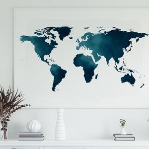Világtérkép poszter, falikép - keret nélkül, akvarell hatású türkiz színű, Kép & Falikép, Dekoráció, Otthon & Lakás, Fotó, grafika, rajz, illusztráció, Papírművészet, Világtérkép poszter, falikép - keret nélkül. \n\nAkvarell hatású világtérkép poszter, prémium minőségű..., Meska