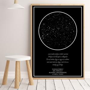 Egyedi csillagtérkép, csillagkép, égbolt, poszter,falikép - keret nélkül, több méretben, fekete, Otthon & lakás, Dekoráció, Kép, Lakberendezés, Falikép, Esküvő, Nászajándék, Fotó, grafika, rajz, illusztráció, Papírművészet, Skandináv stílusú egyedi csillagtérkép poszter - keret nélkül\n\nEmlékszel milyen gyönyörűnek tűntek a..., Meska