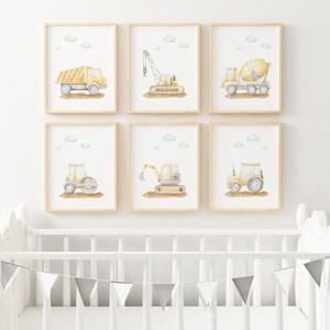 Babaszoba fali dekoráció, kisfiú gyerekszoba falikép, babaposzter - építőipari járművek - falikép, keret nélkül, Otthon & lakás, Dekoráció, Kép, Lakberendezés, Falikép, Gyerek & játék, Gyerekszoba, Baba falikép, Fotó, grafika, rajz, illusztráció, Papírművészet, Babaszoba fali dekoráció, babaposzter, kisfiú gyerekszoba falikép - építőipari járművek (teherautó, ..., Meska