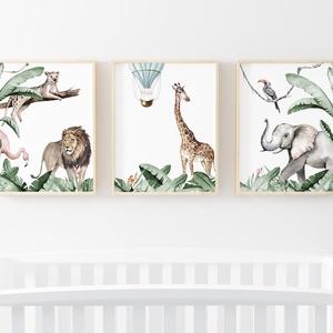 Babaszoba fali dekoráció, babaposzter, gyerek poszter, 3 részes szafari állatos, leveles poszter, falikép, keret nélkül , Kép & Falikép, Dekoráció, Otthon & Lakás, Fotó, grafika, rajz, illusztráció, Papírművészet, Babaszoba fali dekoráció, babaposzter -akvarell hatású 3 részes jungle safari állatos, leveles poszt..., Meska
