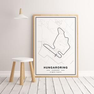 Forma 1, Formula 1, Hungaroring autóverseny pálya poszter, falikép, Mogyoród térkép,, Kép & Falikép, Dekoráció, Otthon & Lakás, Fotó, grafika, rajz, illusztráció, Papírművészet, A poszteren a Hungaroring autóverseny pályának az útvonala található, Mogyoród térképén belül, minim..., Meska