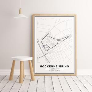 Forma 1, Formula 1, Hockenheimring autóverseny pálya poszter, falikép, pálya térkép , Otthon & Lakás, Dekoráció, Kép & Falikép, Fotó, grafika, rajz, illusztráció, Papírművészet, Formula-1 Hockenheimring autóverseny pálya térkép, minimál stílusban - keret nélkül.\n\nHa más ország ..., Meska