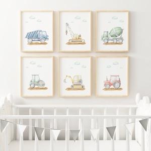Babaszoba fali dekoráció, kisfiú gyerekszoba falikép, babaposzter - építőipari járművek - falikép, keret nélkül, Otthon & Lakás, Dekoráció, Kép & Falikép, Fotó, grafika, rajz, illusztráció, Papírművészet, Babaszoba fali dekoráció, babaposzter, kisfiú gyerekszoba falikép - színes építőipari járművek (tehe..., Meska