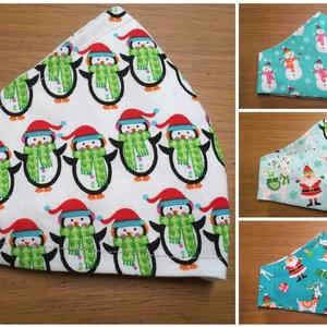Karácsonyi mintás mosható maszk - többféle!, Maszk, Arcmaszk, Női, Varrás, Többféle, garantáltan ünnepi hangulatot árasztó, Mikulás, hóember és pingvin mintás, mosható, varrot..., Meska
