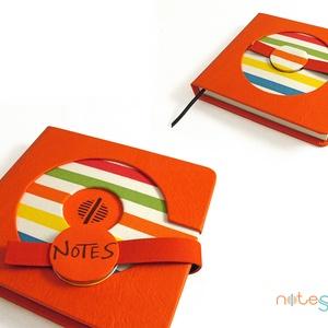L-es notesz/határidőnapló BORÍTÓ - piros - színes csíkos (noteshell) - Meska.hu