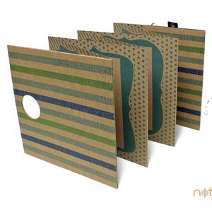 ECO Falra akasztható leporello - kék és zöld színes csíkos (noteshell) - Meska.hu