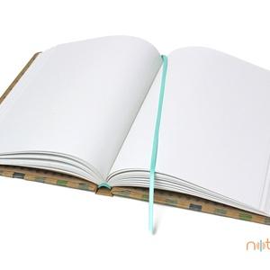 Eco XL sima lapos notesz - kék és zöld - színes csíkos (noteshell) - Meska.hu