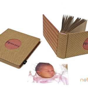 Eco kis fotóalbum - apró pöttyös és rózsaszín csíkos (noteshell) - Meska.hu