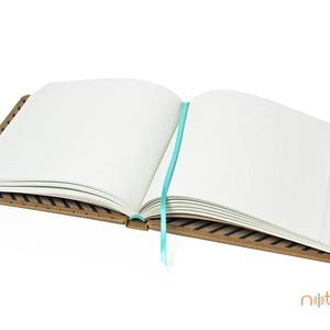 Eco L sima lapos notesz - apró pöttyös és kék csíkos (noteshell) - Meska.hu