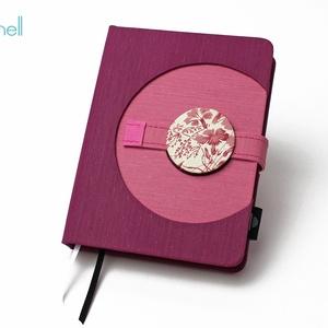 M-es határidőnapló/notesz - lila-rózsaszín, Naptár, képeslap, album, Otthon & lakás, Jegyzetfüzet, napló, Naptár, Könyvkötés, M-es korongos (click-in +) CSERÉLHETŐ BELSEJŰ notesz / határidőnapló \n- lila+rózsaszín textilhatású ..., Meska