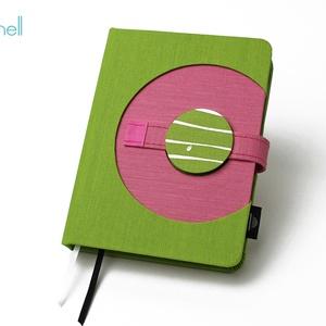 M-es határidőnapló/notesz - zöld-rózsaszín, Naptár, képeslap, album, Otthon & lakás, Jegyzetfüzet, napló, Naptár, Könyvkötés, M-es korongos (click-in +) CSERÉLHETŐ BELSEJŰ notesz / határidőnapló \n- zöld+rózsaszín textilhatású ..., Meska