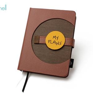 M-es határidőnapló/notesz - barna, Naptár & Tervező, Papír írószer, Otthon & Lakás, Könyvkötés, M-es korongos (click-in +) CSERÉLHETŐ BELSEJŰ notesz / határidőnapló \n- barna műbőr+barna textilhatá..., Meska