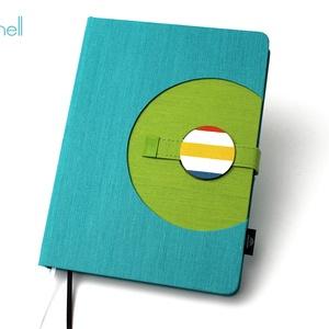 XL-es határidőnapló / notesz - türkizkék-zöld, Naptár, képeslap, album, Otthon & lakás, Jegyzetfüzet, napló, Naptár, Könyvkötés, XL-es korongos (click-in +) CSERÉLHETŐ BELSEJŰ notesz / határidőnapló \n- türkizkék+zöld textilhatású..., Meska