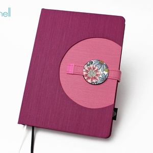 XL-es határidőnapló / notesz - lila-rózsaszín, Naptár, képeslap, album, Otthon & lakás, Jegyzetfüzet, napló, Naptár, Könyvkötés, XL-es korongos (click-in +) CSERÉLHETŐ BELSEJŰ notesz / határidőnapló \n- lila+rózsaszín textilhatású..., Meska
