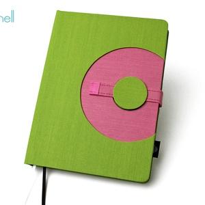 XL-es határidőnapló / notesz - zöld-rózsaszín, Naptár, képeslap, album, Otthon & lakás, Jegyzetfüzet, napló, Naptár, Könyvkötés, XL-es korongos (click-in +) CSERÉLHETŐ BELSEJŰ notesz / határidőnapló \n- zöld+rózsaszín textilhatású..., Meska