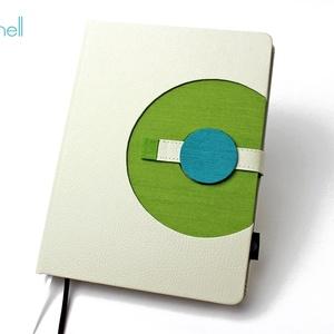 XL-es határidőnapló / notesz - fehér-zöld, Naptár, képeslap, album, Otthon & lakás, Jegyzetfüzet, napló, Naptár, Könyvkötés, XL-es korongos (click-in +) CSERÉLHETŐ BELSEJŰ notesz / határidőnapló \n- fehér műbőr+zöld textilhatá..., Meska