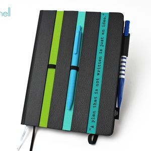 XL-es határidőnapló/notesz-fekete-csíkos-zöld-türkiz, Naptár, képeslap, album, Otthon & lakás, Naptár, Jegyzetfüzet, napló, Könyvkötés, XL-es csíkos (stripy) CSERÉLHETŐ BELSEJŰ notesz / határidőnapló \n- fekete műbőr+színes textil borítá..., Meska