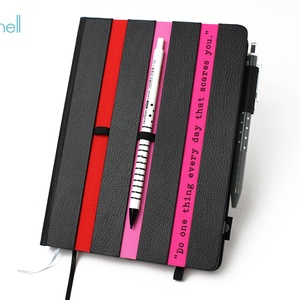 XL-es határidőnapló/notesz - fekete-csíkos-piros-pink, Naptár, képeslap, album, Otthon & lakás, Naptár, Jegyzetfüzet, napló, Könyvkötés, XL-es csíkos (stripy) CSERÉLHETŐ BELSEJŰ notesz / határidőnapló \n- fekete műbőr+színes textil borítá..., Meska