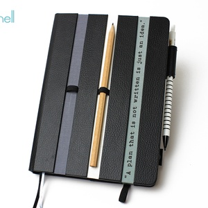 XL-es határidőnapló/notesz-fekete-szürke-fehér, Otthon & Lakás, Jegyzetfüzet & Napló, Papír írószer, XL-es csíkos (stripy) CSERÉLHETŐ BELSEJŰ notesz / határidőnapló  - fekete műbőr+színes textil borítá..., Meska