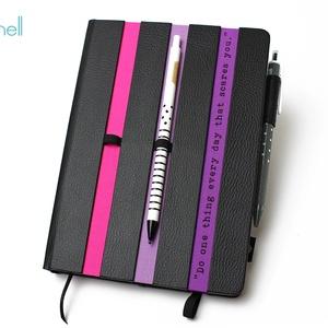 XL-es határidőnapló/notesz-fekete-csíkos-lila-pink, Naptár, képeslap, album, Otthon & lakás, Naptár, Jegyzetfüzet, napló, Könyvkötés, XL-es csíkos (stripy) CSERÉLHETŐ BELSEJŰ notesz / határidőnapló \n- fekete műbőr+színes textil borítá..., Meska