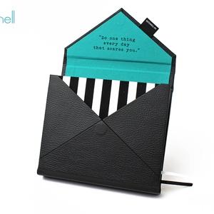 M-es határidőnapló/notesz-fekete-türkiz-csíkos-boríték, Otthon & Lakás, Naptár & Tervező, Papír írószer, M-es boríték (envelope) CSERÉLHETŐ BELSEJŰ notesz / határidőnapló  - fekete műbőr+textil borítás  - ..., Meska