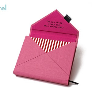 M-es határidőnapló/notesz-pink-piros csíkos boríték, Naptár & Tervező, Papír írószer, Otthon & Lakás, Könyvkötés, M-es boríték (envelope) CSERÉLHETŐ BELSEJŰ notesz / határidőnapló \n- rózsaszín textilhatású műbőr+te..., Meska