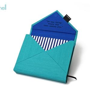 M-es határidőnapló/notesz-türkiz-sötétkék csíkos boríték, Naptár, képeslap, album, Otthon & lakás, Jegyzetfüzet, napló, Naptár, Könyvkötés, M-es boríték (envelope) CSERÉLHETŐ BELSEJŰ notesz / határidőnapló \n- türkiz textilhatású műbőr+texti..., Meska