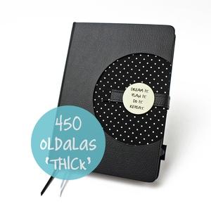 XL \'thick\' határidőnapló / notesz - fekete-fehér-pöttyös, Naptár, képeslap, album, Otthon & lakás, Jegyzetfüzet, napló, Naptár, Könyvkötés, XL-es korongos (click-in +) CSERÉLHETŐ BELSEJŰ notesz / határidőnapló \n- fekete-fehér pöttyös textil..., Meska