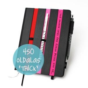 XL-es \'thick\' határidőnapló/notesz-fekete-csíkos-pink-piros, Naptár, képeslap, album, Otthon & lakás, Naptár, Jegyzetfüzet, napló, Könyvkötés, XL-es csíkos (stripy) CSERÉLHETŐ BELSEJŰ notesz / határidőnapló \n- fekete műbőr+színes textil borítá..., Meska