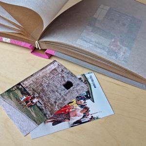 M-es egyedi fotóalbum-pink/szürke-újrahasznosított papírból és ruhákból-környezetbarát emlék-egyedi FELIRATtal is (noteshell) - Meska.hu