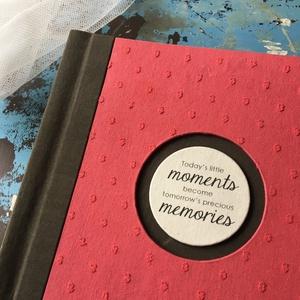 M-es egyedi fotóalbum-korall/military-újrahasznosított papírból és ruhákból-környezetbarát emlék-egyedi FELIRATtal is, Naptár, képeslap, album, Otthon & lakás, Fotóalbum, Könyvkötés, Újrahasznosított alapanyagból készült termékek, Ruhák új élete - UPCYCLING kollekció - korall pöttyös blúz és military kabát\n--- Egyedi, használt ru..., Meska