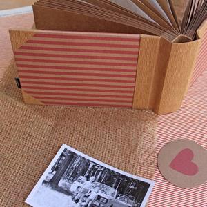 Eco kis fotóalbum - rózsaszín csíkos (noteshell) - Meska.hu