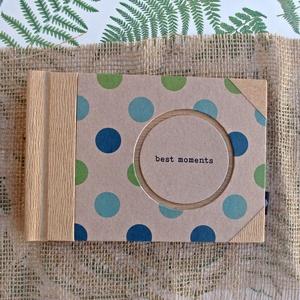 Eco kis fotóalbum - türkiz és zöld színes pöttyös, Otthon & Lakás, Album & Fotóalbum, Papír írószer, Noteshell ECO fotóalbum védőtokkal - 100 % újrahasznosított papírból készült (MONO eco kollekció)  E..., Meska