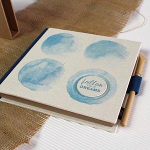 ECO napló védőtokkal, akvarell-kék lenvászon-környezetbarát, újrahasznosított papírból, Otthon & Lakás, Papír írószer, Jegyzetfüzet & Napló, Könyvkötés, Újrahasznosított alapanyagból készült termékek, Újrahasznosított papírból készült környezetbarát napló / emlékkönyv / vendégkönyv VÉDŐTOKKAL - Notes..., Meska