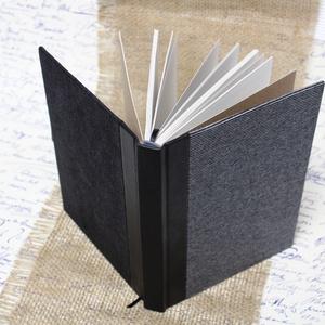 Vonalas notesz - fekete farmer-szürke csíkos poló-fekete bőrkabát-újrahasznosított ruhákból, környezetbarát , Otthon & Lakás, Papír írószer, Jegyzetfüzet & Napló, Újrahasznosított ruhákból és papírból készült, környezetbarát vonalas notesz  -mérete: 14,5x20x1,8 ..., Meska