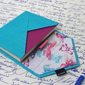 M-es határidőnapló/notesz-türkiz-lila-pillangós-boríték, Otthon & Lakás, Papír írószer, Naptár & Tervező, Könyvkötés, M-es boríték CSERÉLHETŐ BELSEJŰ notesz / határidőnapló \n- műbőr+textil borítás\n\n- borító mérete: 11x..., Meska