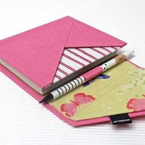 M-es határidőnapló/notesz-rózsaszín-pillangós-boríték, Otthon & Lakás, Papír írószer, Naptár & Tervező, M-es boríték CSERÉLHETŐ BELSEJŰ notesz / határidőnapló  - műbőr+textil borítás  - borító mérete: 11x..., Meska