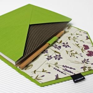 XL-es határidőnapló/notesz-zöld-levendula-barna-boríték, Otthon & Lakás, Papír írószer, Naptár & Tervező, Könyvkötés, XL-es boríték CSERÉLHETŐ BELSEJŰ notesz / határidőnapló \n- műbőr és textil borítás\n\n- borító mérete:..., Meska