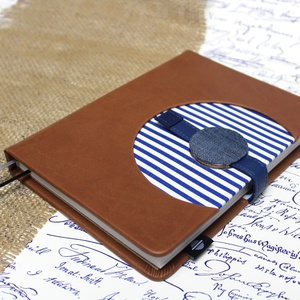 XL-es határidőnapló / notesz - barna-matróz csíkos, Otthon & Lakás, Papír írószer, Naptár & Tervező, XL-es korongos (click-in +) CSERÉLHETŐ BELSEJŰ notesz / határidőnapló  - kék-fehér csíkos textil+bar..., Meska