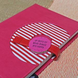 XL-es határidőnapló / notesz - pink-piros-fehér csíkos, Otthon & Lakás, Papír írószer, Naptár & Tervező, XL-es korongos (click-in +) CSERÉLHETŐ BELSEJŰ notesz / határidőnapló  - piros-fehér csíkos textil+s..., Meska