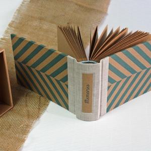 Eco kis fotóalbum védőtokkal - natúr len - kék halszálka, Otthon & Lakás, Papír írószer, Album & Fotóalbum, Noteshell ECO fotóalbum védőtokkal - 100 % újrahasznosított papírból készült (MONO eco kollekció)  E..., Meska