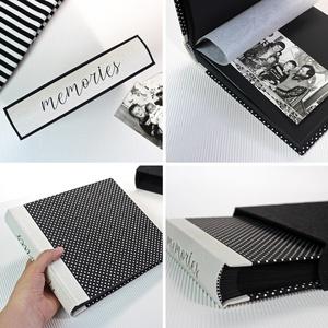 M fekete-fehér pöttyös fotóalbum védőtokkal - otthon & lakás - papír írószer - album & fotóalbum - Meska.hu