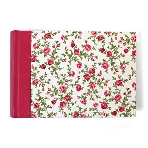 S-es, pink-zöld-fehér, rózsás, egyedi fotóalbum, Otthon & Lakás, Papír írószer, Album & Fotóalbum, Könyvkötés, Kézzel fűzött hagyományos fotóalbum\n\n- méret: 19 cm x 13 cm, lapméret: 18 cm x 12 cm (S/small)\n- 32 ..., Meska